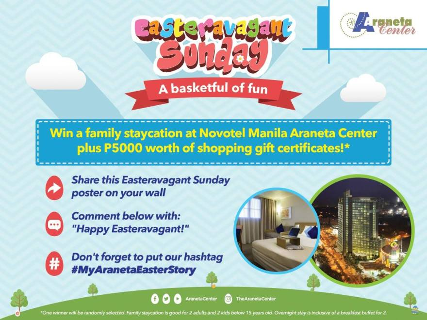 Easter metro savvy get a chance to win p5000 worth of gift certificates and an overnight stay for 2 adults and 2 kids below 15 years old at novotel manila araneta center by negle Images