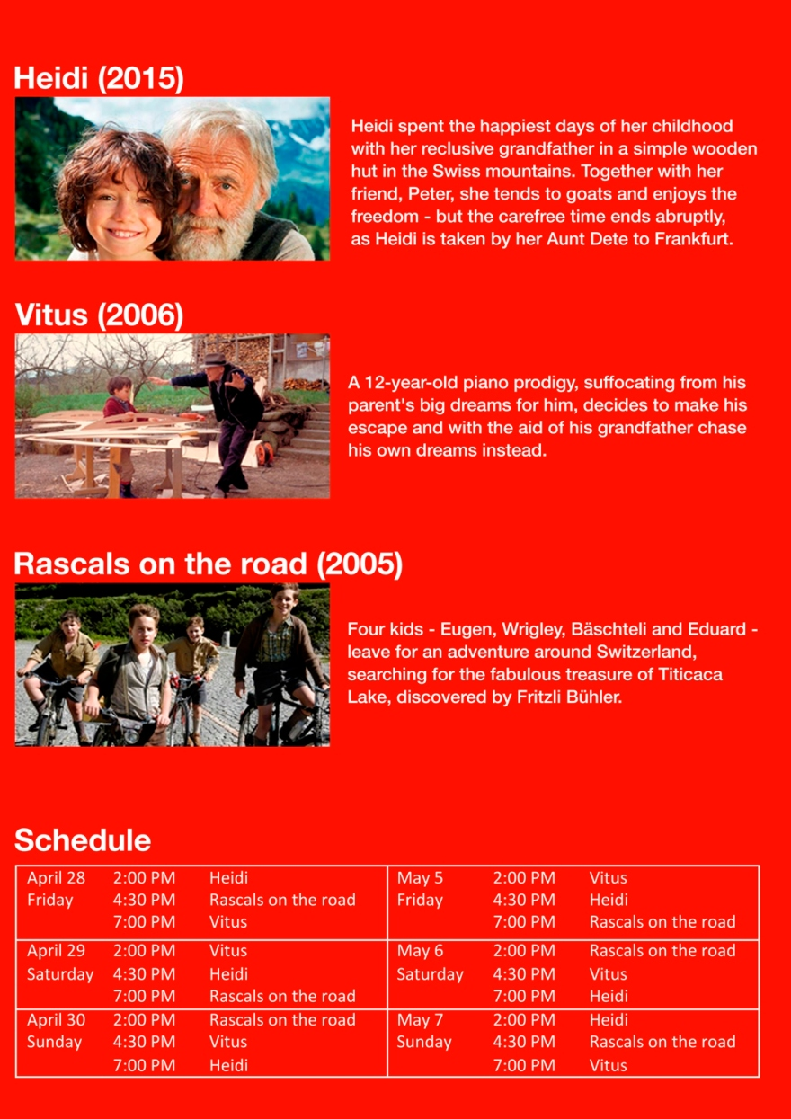 Flyer Swiss Film Fest back with Schedule - Copy